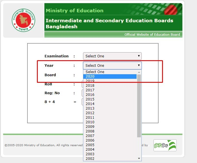 select ssc result year 2020